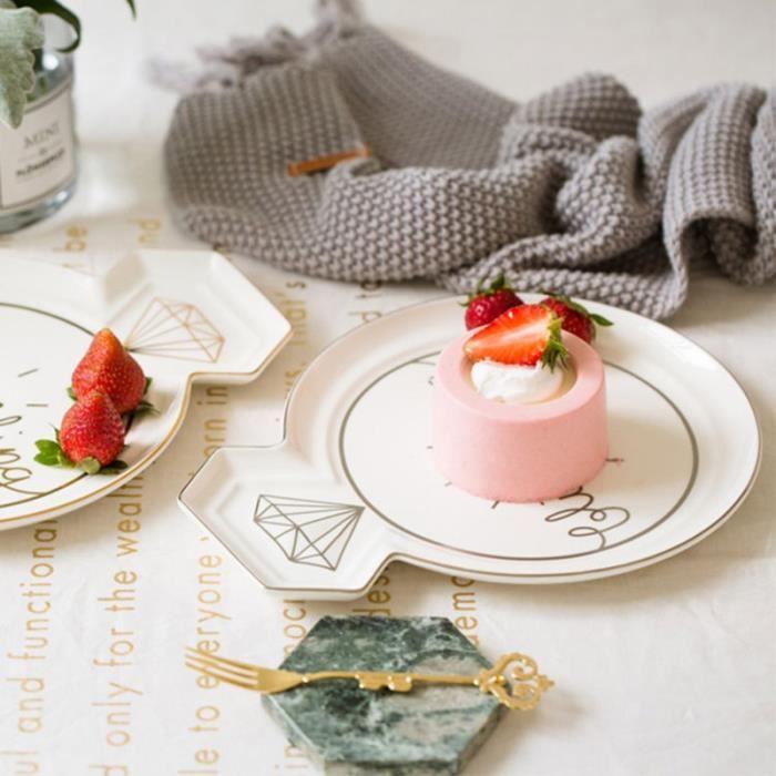 1PC 10 pouces assiettes en céramique assiette en diamant doré pour légumes Dessert Fruits Cuisine Steak de USTENSILES REPAS BEBE