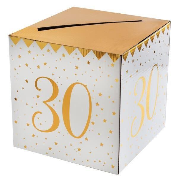 Boîte pour carte de fête anniversaire 30 ans blanche et dorée métallisée (x1) R/6186