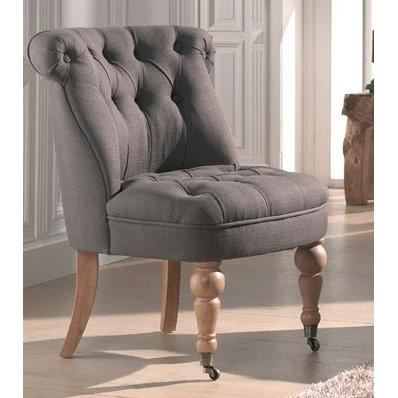 Fauteuil crapaud roulette capitonn lin taupe achat vente fauteuil lin p - Fauteuil crapaud lin ...