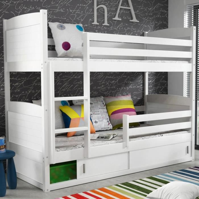 lits superpos s blanc 200 x 90 cm moderne achat vente. Black Bedroom Furniture Sets. Home Design Ideas