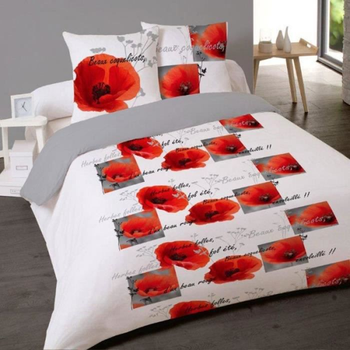 housse de couette 240 x 220 2 taies 65 x 65 cm coquelicots coton 41fils cm2 taies plac e. Black Bedroom Furniture Sets. Home Design Ideas
