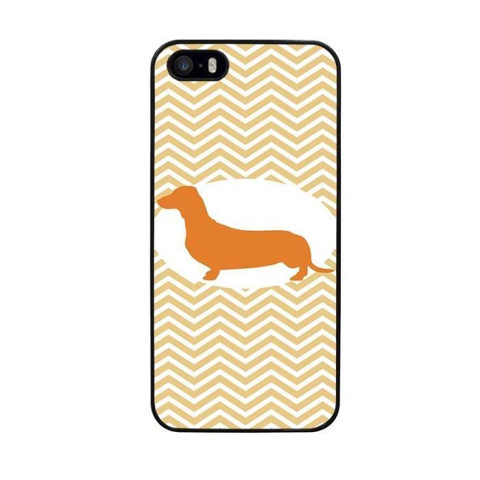 Coque rigide pour iPhone 5 5S dessin chien saucisse à pattes ...