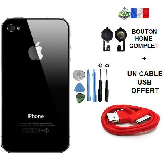 vitre arri re iphone 4 noir cable usb chargeur rouge offert bouton home kit outil apple. Black Bedroom Furniture Sets. Home Design Ideas