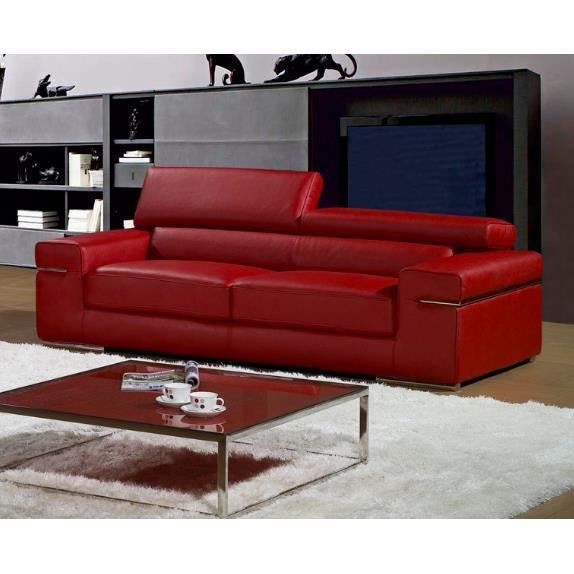 canap 3 places rouge en cuir contemporain achat vente canap sofa divan cuir bois. Black Bedroom Furniture Sets. Home Design Ideas