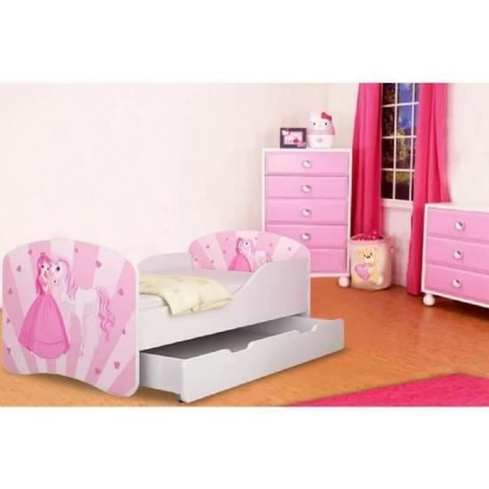 lit gigogne fille princesse sommier et matelas 140x70cm achat vente lit complet lit. Black Bedroom Furniture Sets. Home Design Ideas
