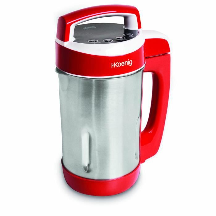 h koenig blender chauffant soup maker 1 1l 850w rouge inox mxc18 achat vente blender. Black Bedroom Furniture Sets. Home Design Ideas