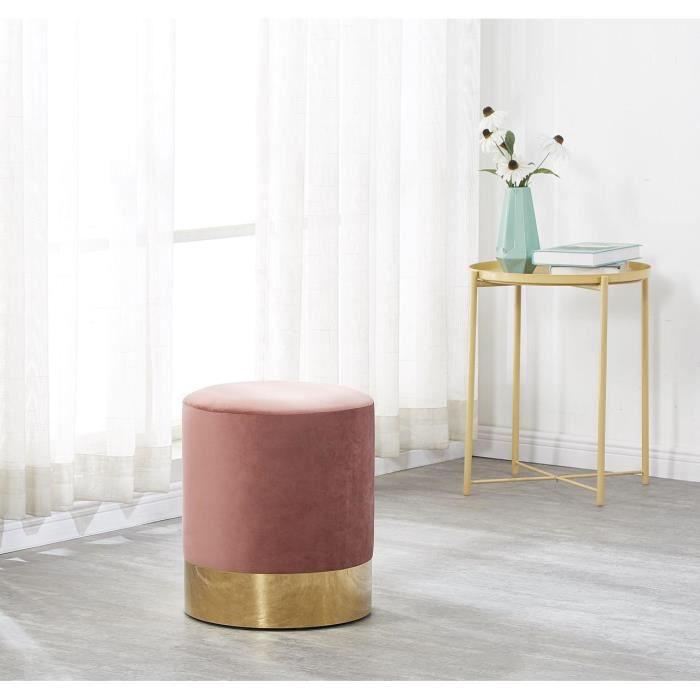 Pouf Moderne En Velours Rose Poudre Et Metal Dore Repose Pieds Salon Chambre Achat Vente Pouf Poire Cdiscount