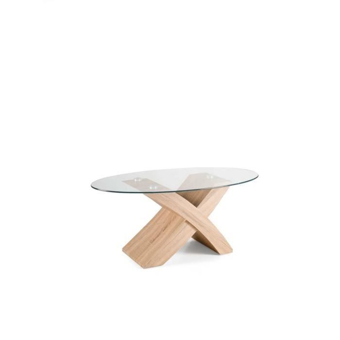 Table en et chêne verre plateau TITO avec basse ovale MSUzVp