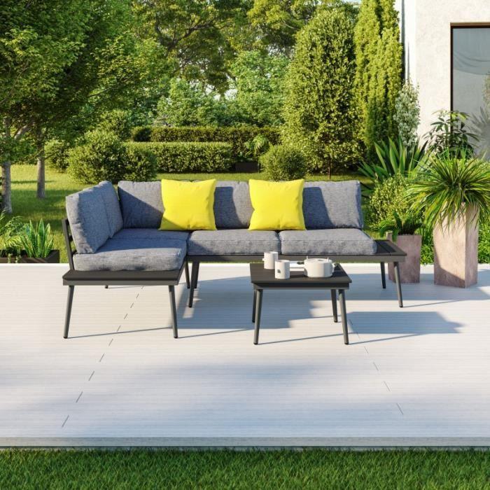 Salon D Angle De Jardin Design Aluminium Couleur Gris Alto