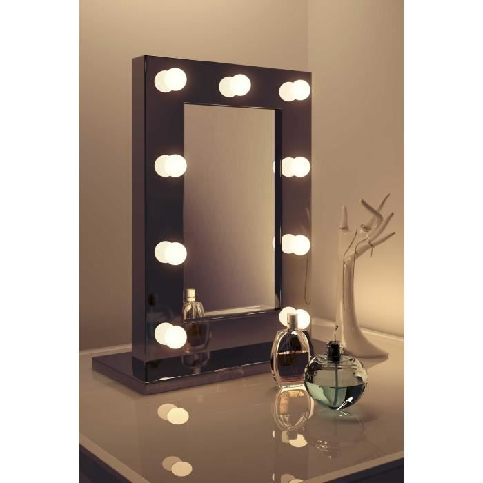 miroir de maquillage hollywood ultra noir avec ampoules graduables k218 noir taille h 650mm x. Black Bedroom Furniture Sets. Home Design Ideas