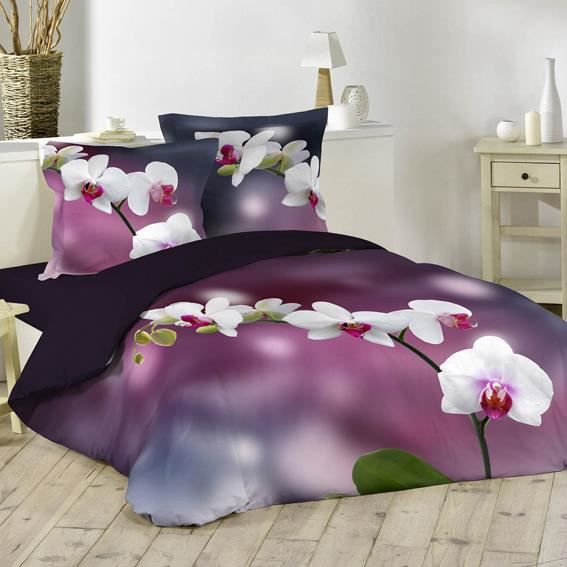housse de couette et deux taies 240 cm orchid e achat. Black Bedroom Furniture Sets. Home Design Ideas