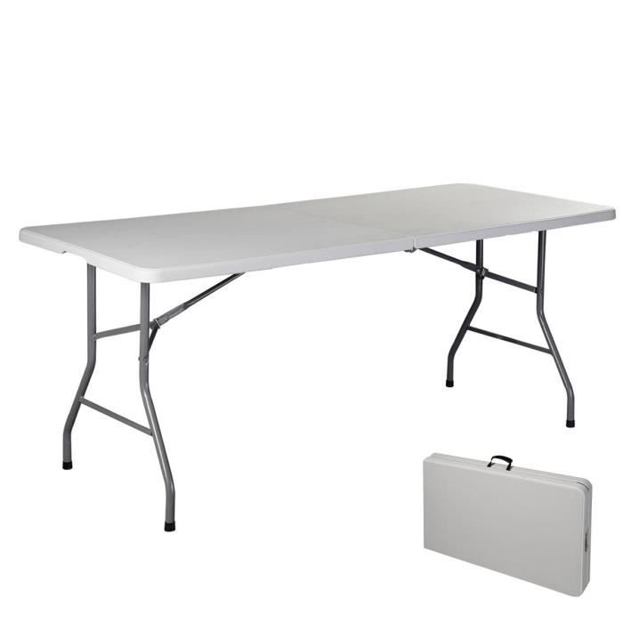 table pliante portable table de camping valise jardin 182cm
