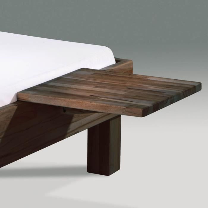 Table de nuit en h tre fixer au lit mido weng achat - Table de chevet wenge ...