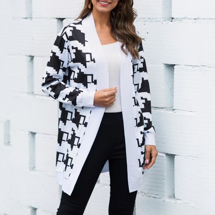Femme Imprimé Léopard Cardigan manteau femme Casual à manches longues Outwear Tops