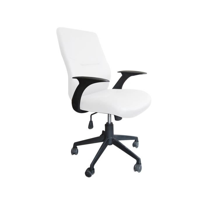 fauteuil de bureau moderne blanc chalk achat vente chaise de bureau cdiscount. Black Bedroom Furniture Sets. Home Design Ideas