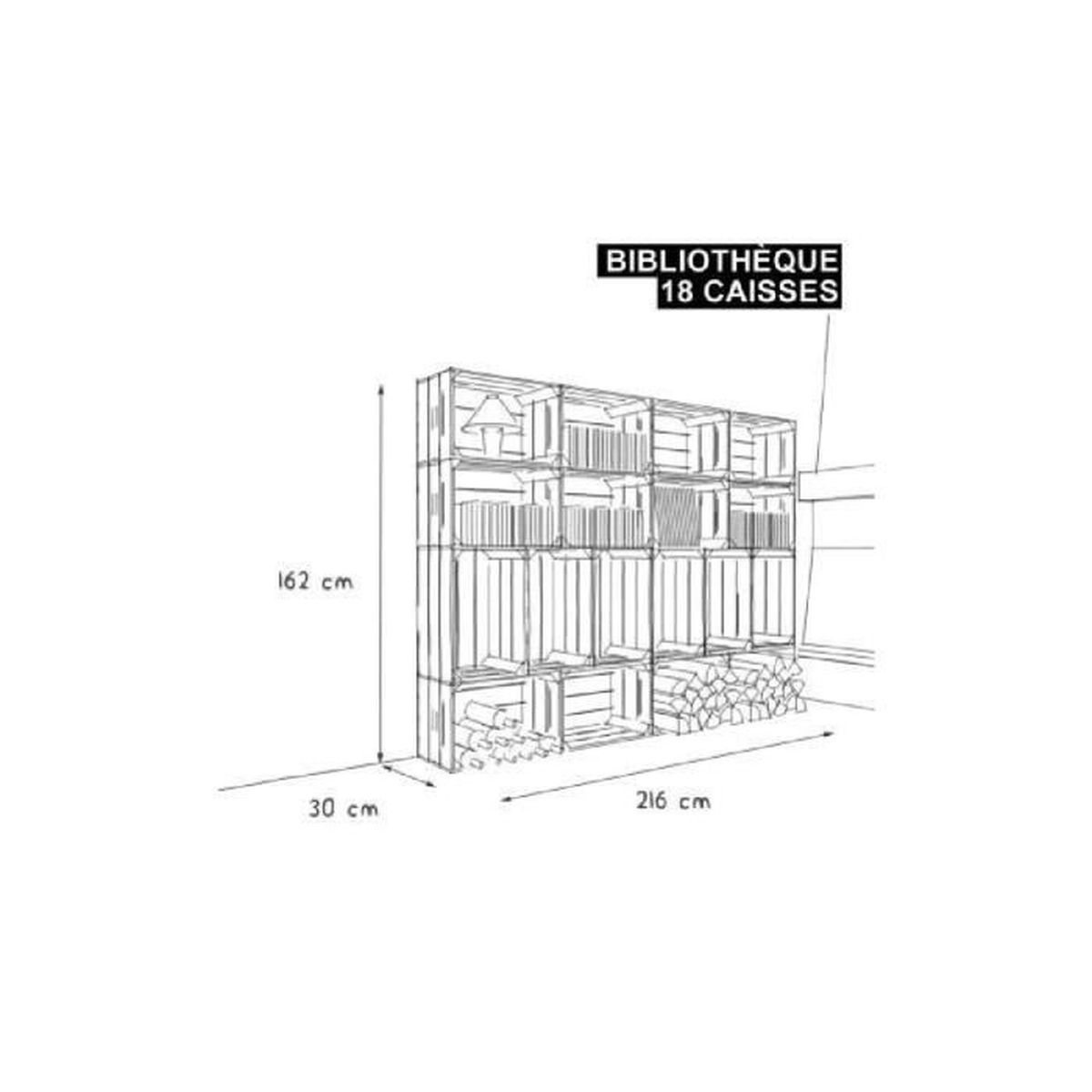 biblioth que 18s kit pr t assembler caisses en bois x18 fabriqu e main en france. Black Bedroom Furniture Sets. Home Design Ideas