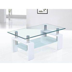 TABLE BASSE Table basse blanc laqué et plateaux verre design O