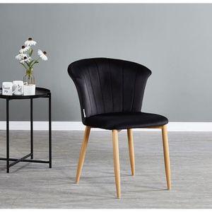 CHAISE Chaise en Velours Vintage Noire Elsa - Salle à Man