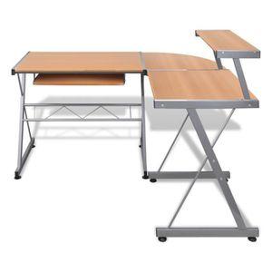 BUREAU  Grande table de bureau réglable Brun pour ordinate