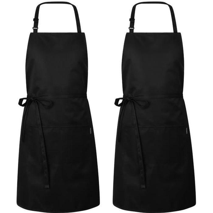 2 PCS Tablier de cuisine de chef professionnel - tablier à bavette réglable - Résistant à l'eau et à l'huile