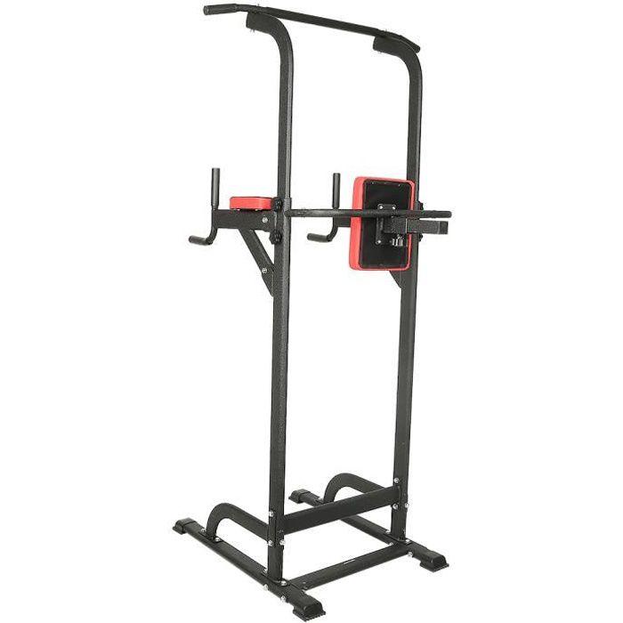 Chaise Romaine Hauteur Réglable Barre de Traction Ajustable Power Tower Musculation Dips Station Noir et Rouge