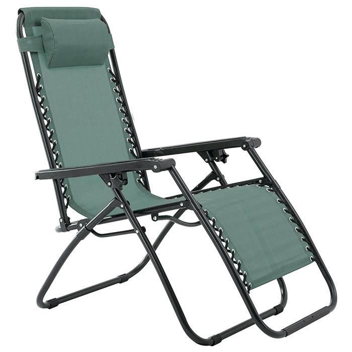 Lot de 2 Chaises Longue Inclinable - Chaises de Jardin Pliantes - Appuie-Tête Amovible - Cadre En Acier - Vert