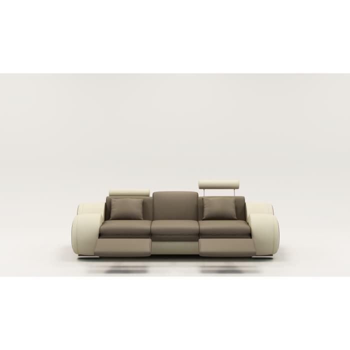 Canapé design 3 places cuir marron et beige + têtières relax OSLO