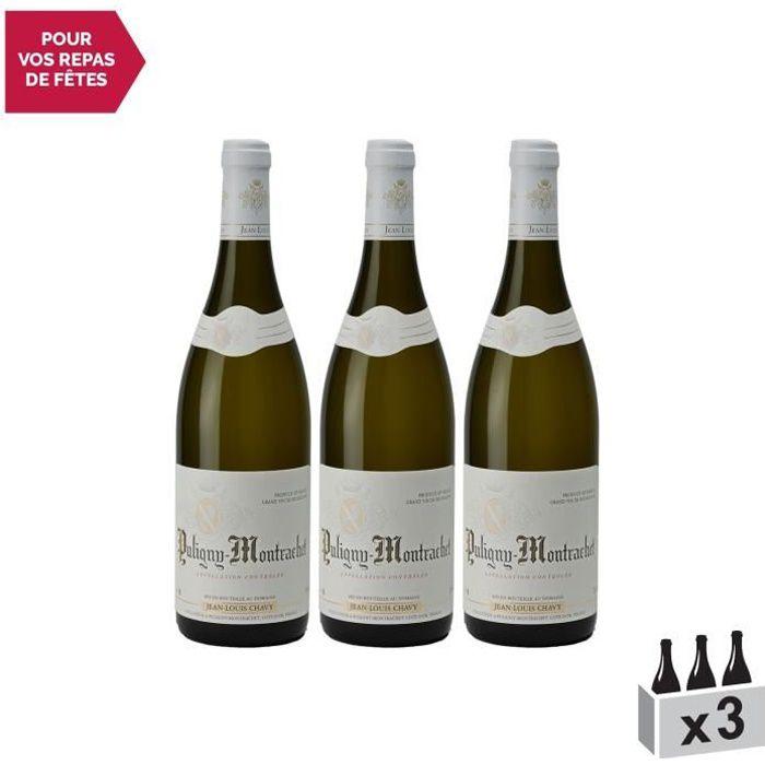 Puligny-Montrachet Blanc 2018 - Lot de 3x75cl - Domaine Jean-Louis Chavy - Vin AOC Blanc de Bourgogne - Cépage Chardonnay