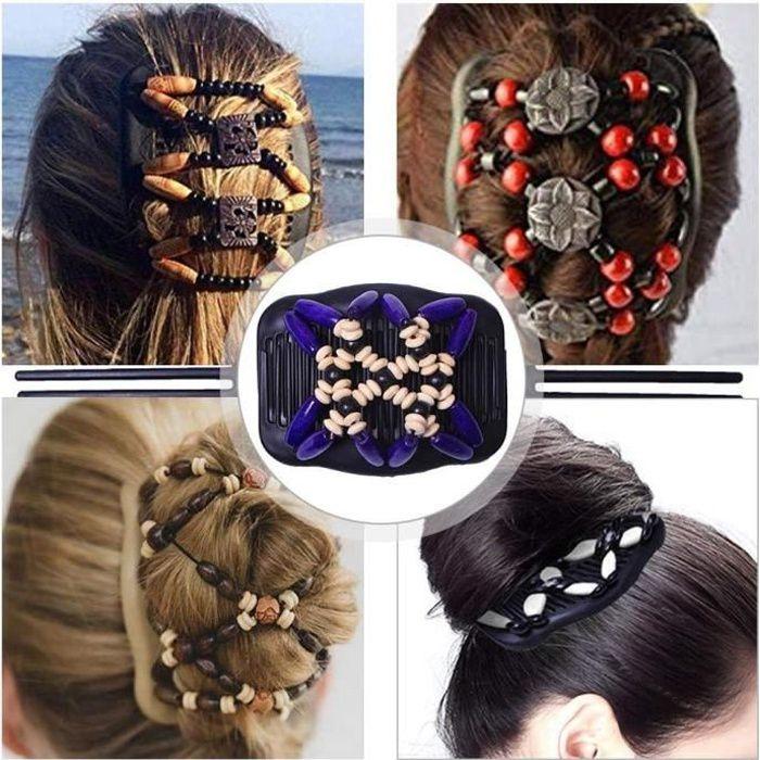 Peigne Cheveux Extensible Magique, Pince A Cheveux Flexible Magique,ÉLastiques Magiques Peignes De Cheveux Extensible Double Clips P
