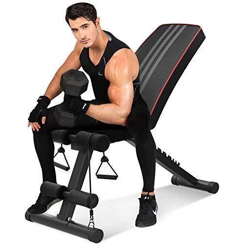 Banc de Musculation Pliable Banc de Poids Gymnastique à Domicile & AB Abdominaux Banc incliné Plat Banc d'exercice