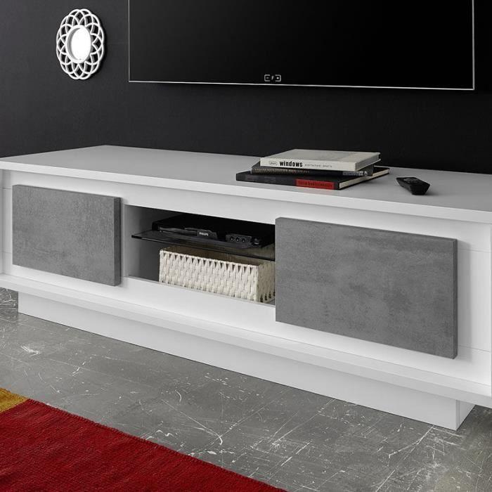 Meuble TV design blanc laqué mat et effet béton ERINE 7