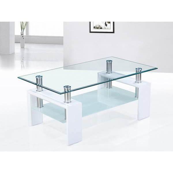 Table basse blanc laqué et plateaux verre design OTTAVIA L 100 x P 60 x H 49 cm Marron