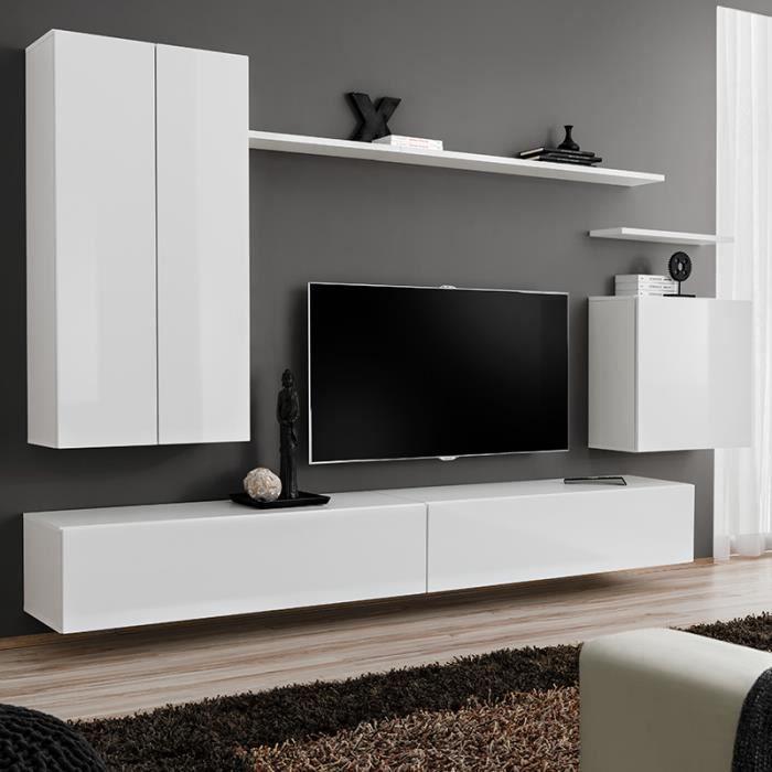 Meuble tele suspendu blanc SOLEDAD 3 L 270 x P 40 x H 160 cm Blanc