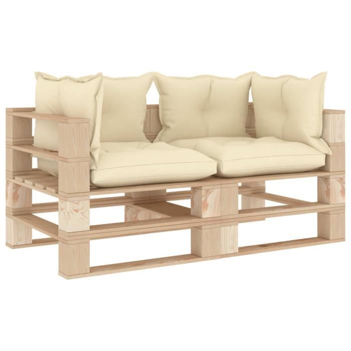 Luxueux Magnifique-Canapé palette à 2 places de jardin Jardin Patio Extérieur Salon avec coussins crème Bois