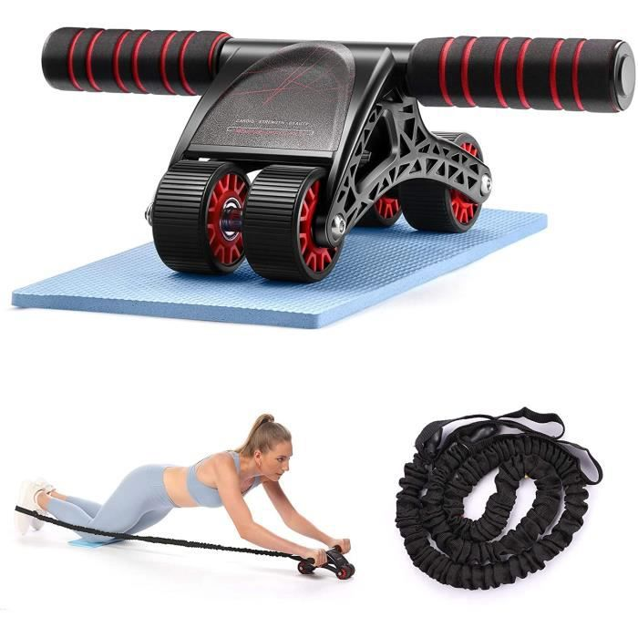 Roue Abdominale 4 Roues Roue de l'exercice AB Wheel avec Genouillre Entraîneur de Mus - Charge Maximale 150 Kg