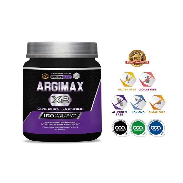 ARGIMAX X2 – 3 grammes de L-Arginine pure à 100% par dose – Puissant précurseur d'oxyde nitrique, qui favorise la vasodilatation