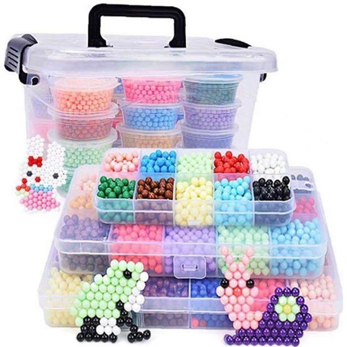 2200pcs eau Fuse Perles Kit 10 Couleurs de bricolage soluble dans l'eau Puzzle jouets pour enfants