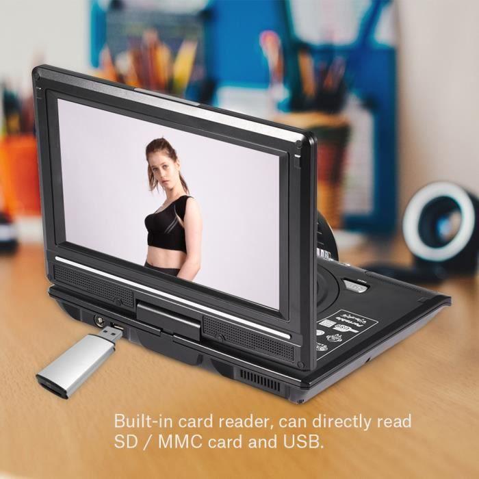 9in Lecteur DVD portable multimédia Lecteur CD Récepteur de radio FM Lecture de cartes mémoire (EU Plug) -QUT