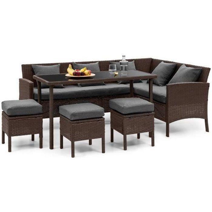 Blumfeldt Titania Lounge Salon de jardin 7 places résine tréssée - table à manger , canapé & 3 poufs - polyrotin marron & gris foncé