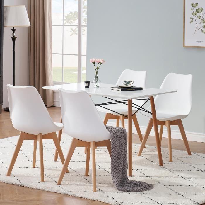 Lot de 6 Chaises Scandinaves Blanches Chaise de salle à Manger Design en Similicuir et Bois Massif
