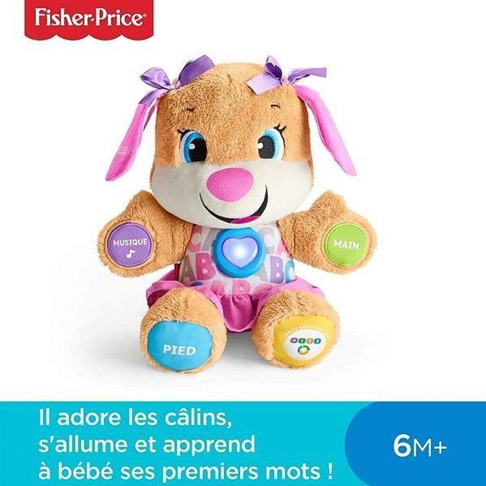 Nounours éducatif interactif- Fisher-Price- Sœur de Puppy-Eveil progressif-3 niveaux d'apprentissage-Caline,parle,rit et chante
