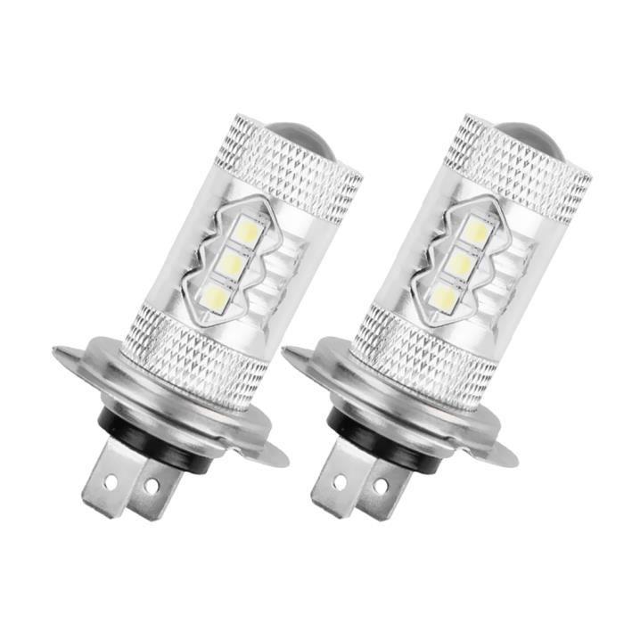 2 Pièces Auto Voiture 80W Blanc H7 16-LED Ampoule Feux de Route Feux DRL