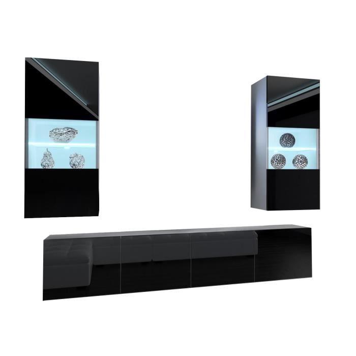 CYAN - Ensemble meubles TV + LED - Unité murale moderne - Largeur 200 cm - Mur TV à suspendre - 2 meuble vitrines - Noir-Blanc