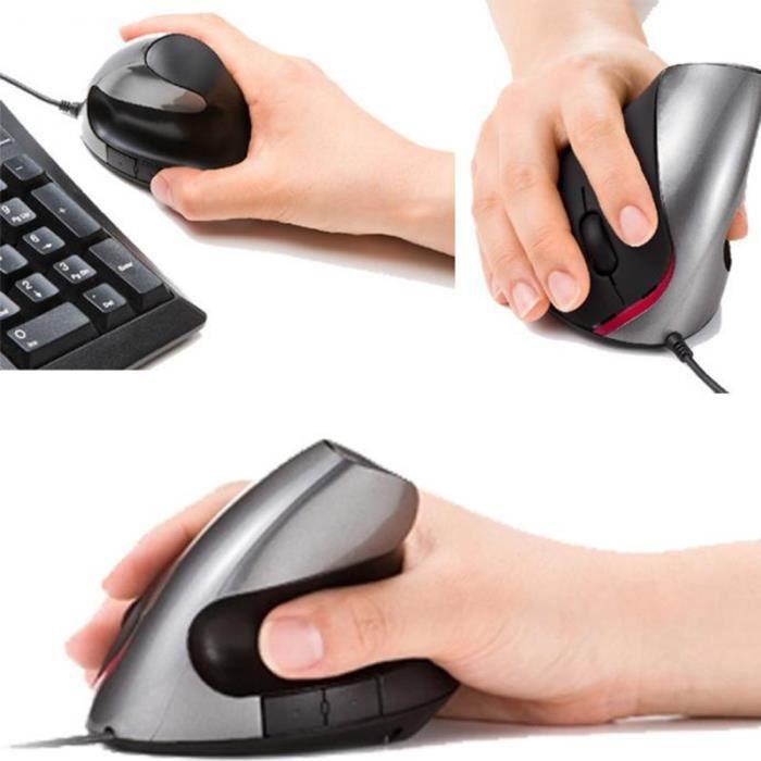 Conception ergonomique USB 3.0 souris optique verticale poignet guérison gris