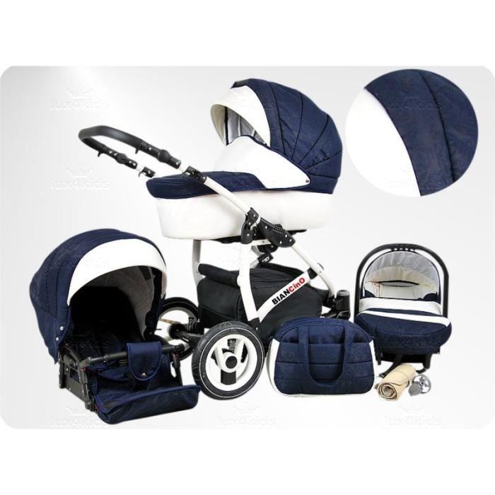 BIANCinO 3en1 Poussette combinée cuir écologique set complète (siège auto + adaptateur, habillage pluie, moustiquaire, roues pivo...