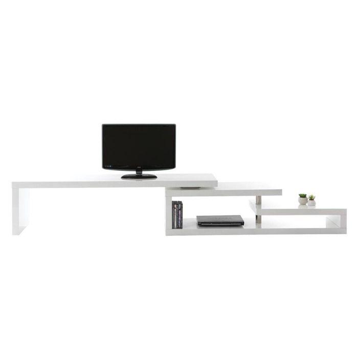 Miliboo - Meuble TV design laqué blanc pivotant MAX V2