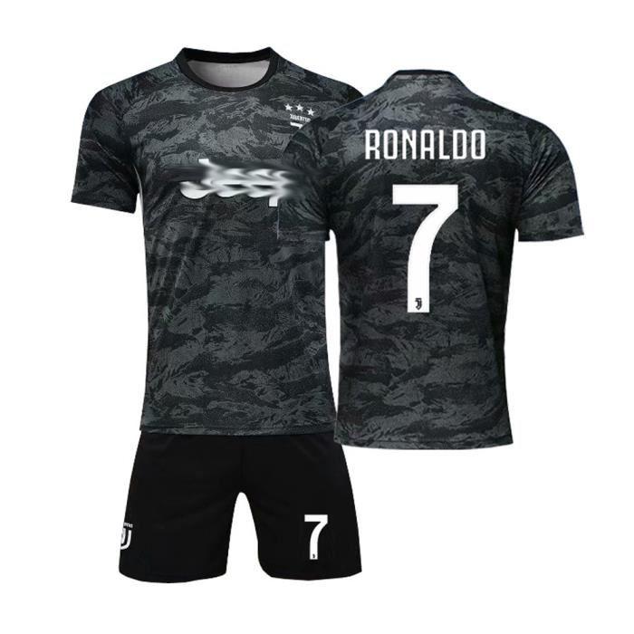 Nouveau Maillot et Shorts de Football Cristiano Ronaldo NO.7 Juventus Enfant-Noir