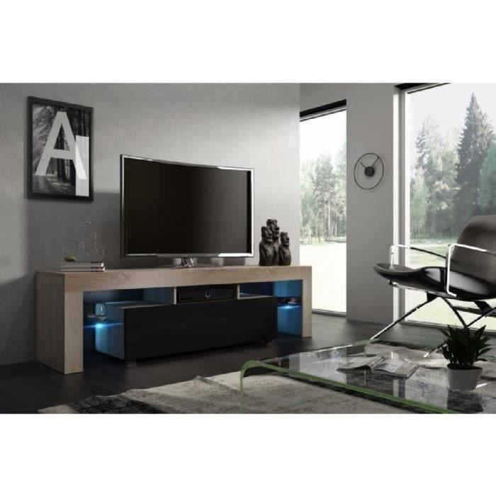 Meuble tv 160 cm chêne MDF et noir laqué avec led