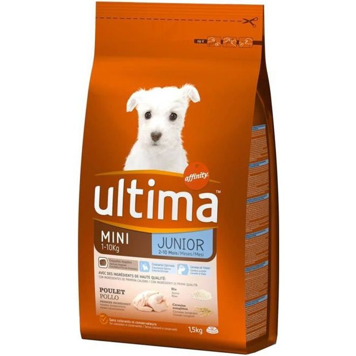 Ultima Croquettes Chiens Junior Mini 1-10 Kg Poulet Riz Format 1,5Kg (lot de 3)