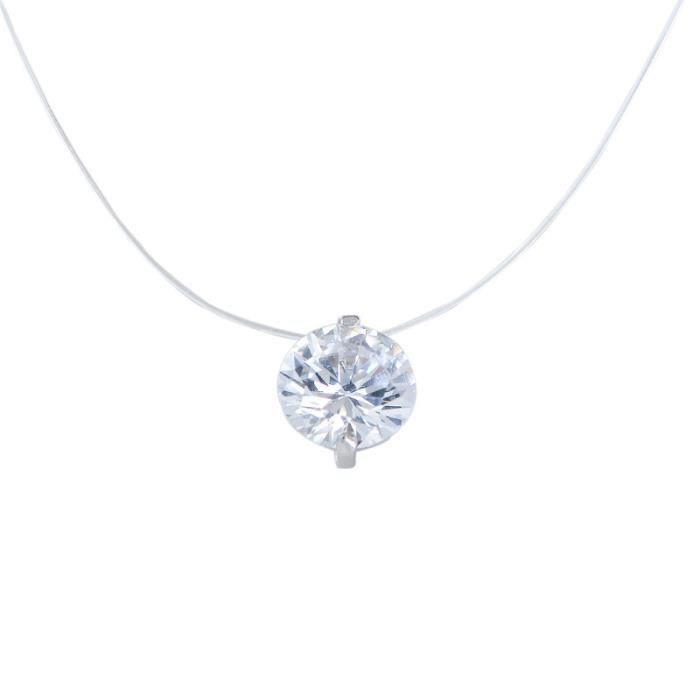 collier diamant avec fil transparent
